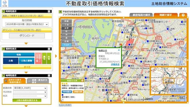 土地情報システムで公示価格・基準価格が分かる