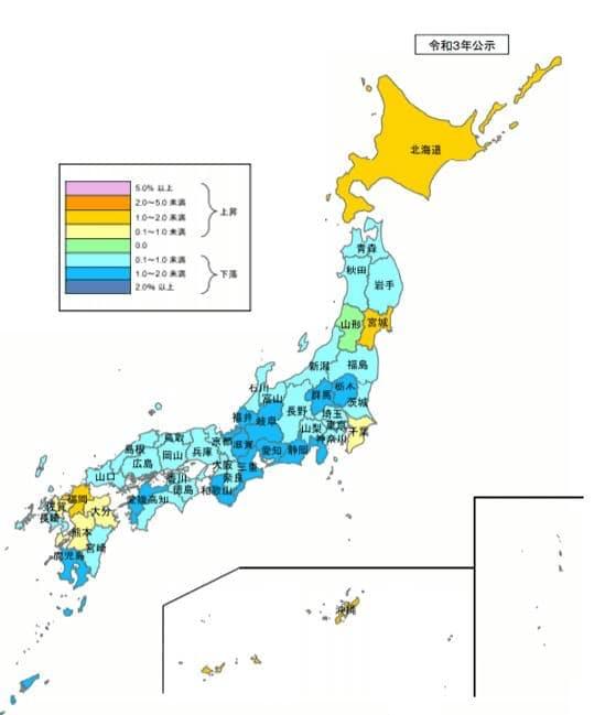 都道府県別の地価変動率(住宅地)(2021年度)