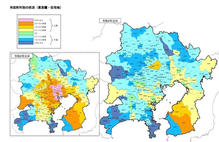 東京の住宅地の公示地価