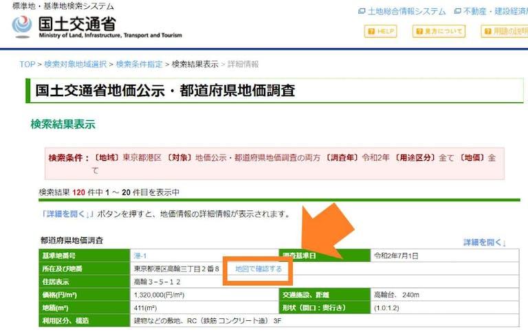 土地情報システムの地価一覧ページ